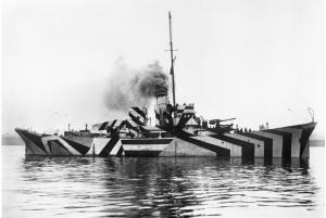 "WWI ship with ""dazzle"" pattern"
