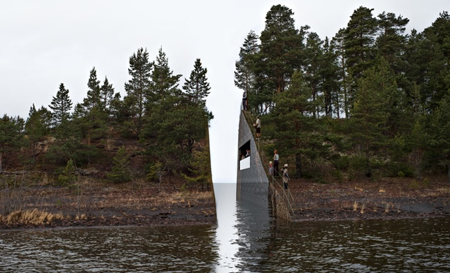 Memory Wound, a 3.5m gap cut into the Sørbråten peninsula by artist Jonas Dahlberg
