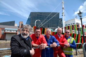Cruz Diez (beard) with Dazzle Ship in Liverpool