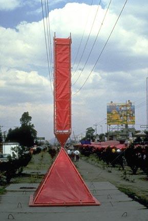 "Pink plastic ""Broken Obelisk"" by artist Eduardo Abaroa in Mexico."