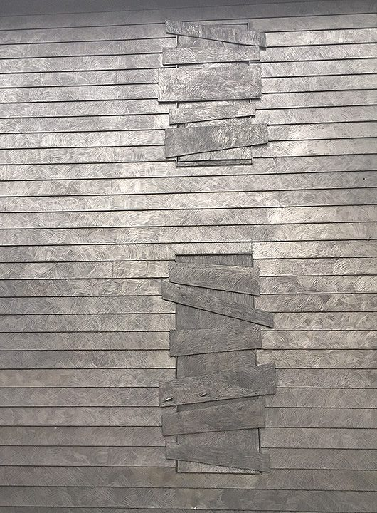 "Diana Shpungin's ""Drawing Of A House (Triptych)"" Graphite over black paint on small house, Grand Rapids, USA 2015"