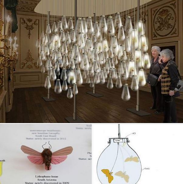 The Austrian designers mischer'traxler ( http://www.mischertraxler.com/ ) has hand made 250 tiny fabric insects and equipped them with motors and sensors for Curiosity Cloud, a new installation for London's Design Festival. 2015