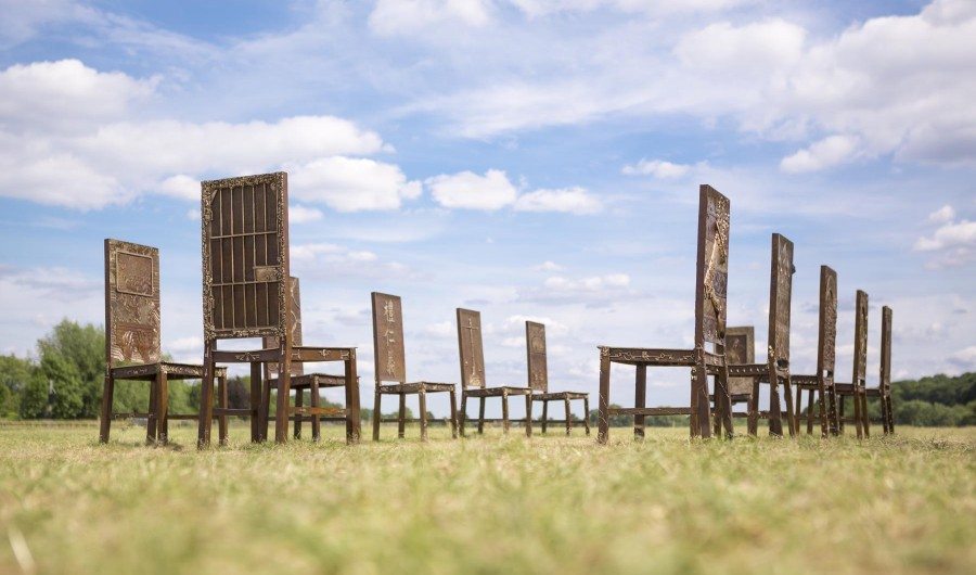 """The Jurors"" by Hew Locke for the 800 Anniversary of the Magna Carta. http://artatrunnymede.com/"