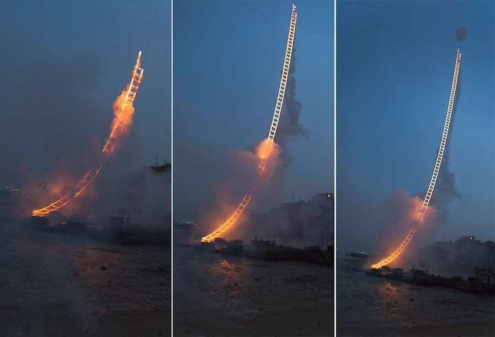 Cai Guoqiang Sky Ladder. 1,650-foot-long stepladder-shaped apparatus attached to an enormous helium balloon.