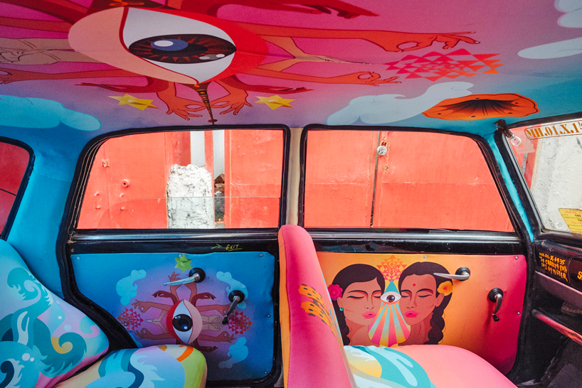 Mumbai Taxi with giclee type printed upholstery