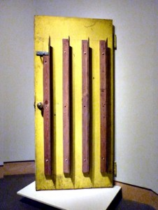 George Maciunas, Giant Cutting Blades Door from Flux Combat with New York State Attorny (and Police), 1970-75