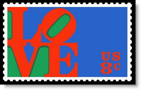 Robert Indiana: LOVE, 1973. First Class U.S. Postage Stamp