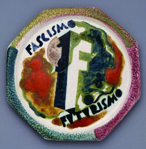 Giovanni Acquaviva: Facismo/Futurismo Plate from The Life of Marinetti Dinner Service 1939. Wolfsonian Musuem, Miami, Fla.