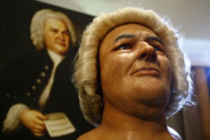 A reconstruction of the head of German composer Bach is pictured during a news conference in Berlin