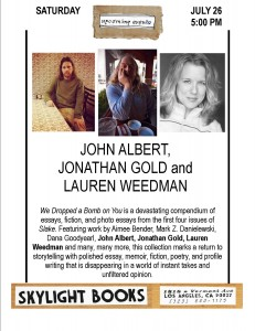 John Albert Jonathan Gold and Lauren Weedman 7.26.14