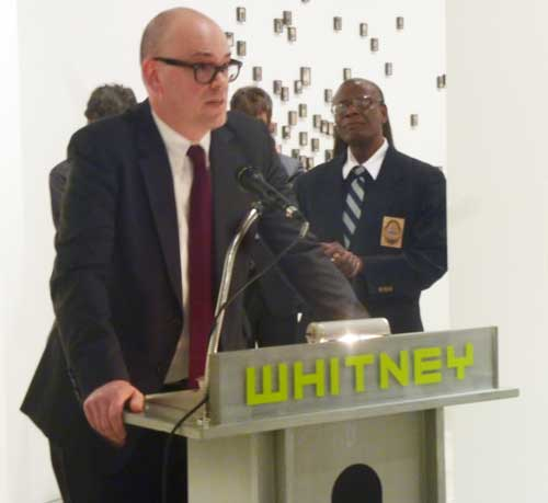 "LA MOCA curator Bennett Simpson at Whitney Museum press preview for ""Blues for Smoke"""