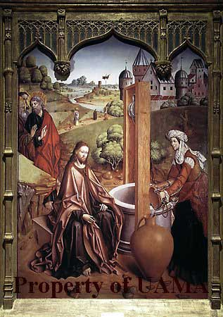 "Fernando Gallego, ""Christ and the Samaratan Woman,"" 1480-88, 1961 gift of Samuel Kress Foundation to University of Arizona Museum of Art"