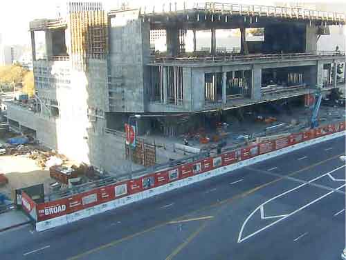 Screen capture from The Broad's live construction webcam