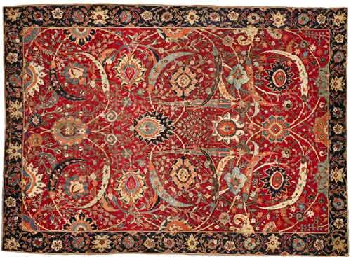 "Clark ""Sickle-Leaf"" carpet, probably Kirman, South Persia, 17th century, approximately 8' 9"" by 6' 5"" Presale estimate: $5-7 million     Est. $5/7 million"