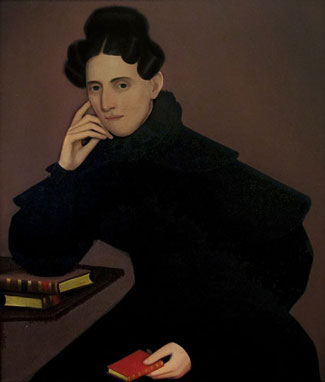 "Ammi Phillips, ""Woman in Black Ruffled Dress,"" ca. 1835"