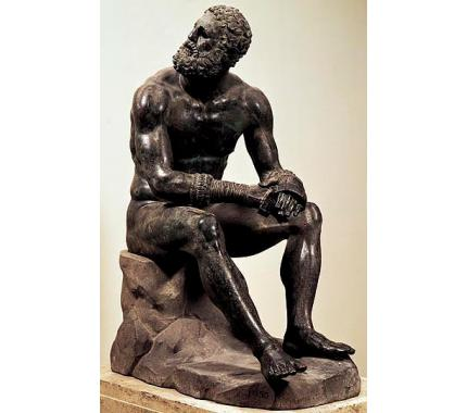 """Boxer at Rest,"" end of the 4th century B.C. to the 2nd century B.C., Museo Nazionale Romano, Rome"