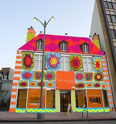 Craft and Folk Art Museum, Los Angeles, with a facade (temporarily) adorned with crochet squares.