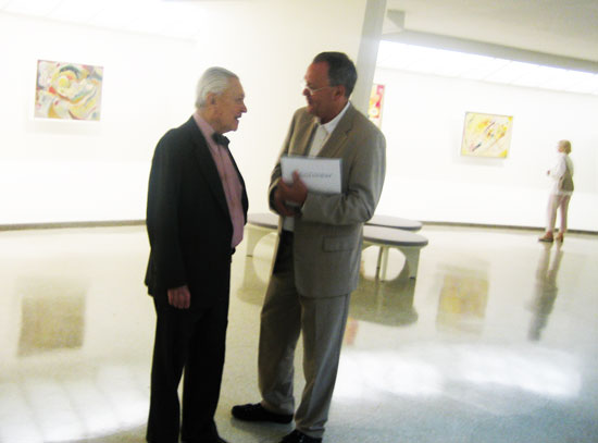 Tom Messer, left, walking the familiar Guggenheim ramps at the 2009 Kandinsky retrospective Photo by Lee Rosenbaum