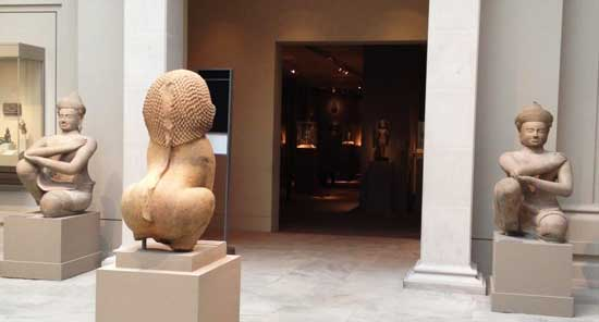 "Flanking the entrance to Gallery 249: The Met's 10th-century Koh Ker ""Kneeling Attendants,"" to be returned to Cambodia"