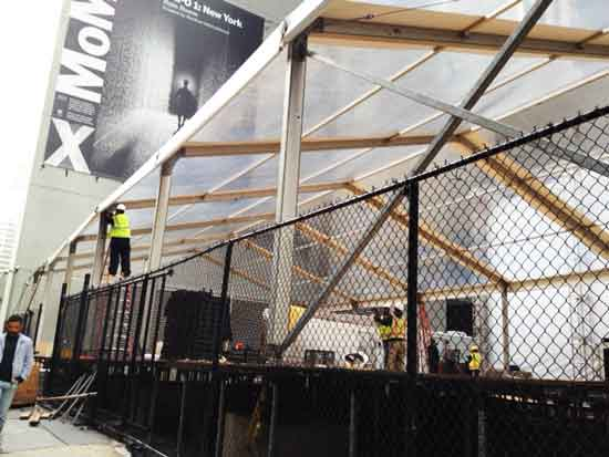 """Rain Room"" being constructed yesterday in lot where Nouvel's tower will later rise Photo by Lee Rosenbaum"
