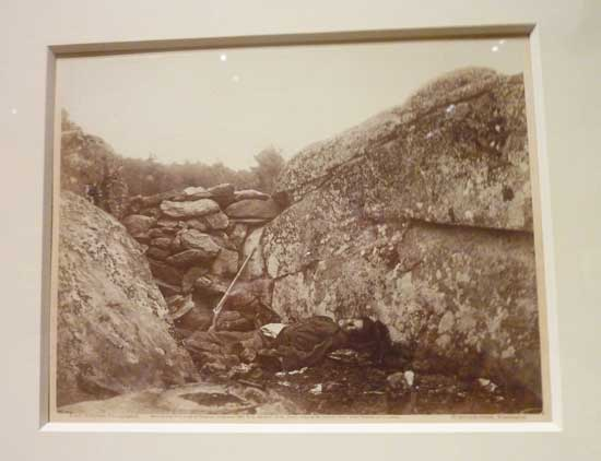 "Alexander Gardner, ""Home of a Rebel Sharpshooter, Gettysburg,"" July 1863 Photo of photo by Lee Rosenbaum"