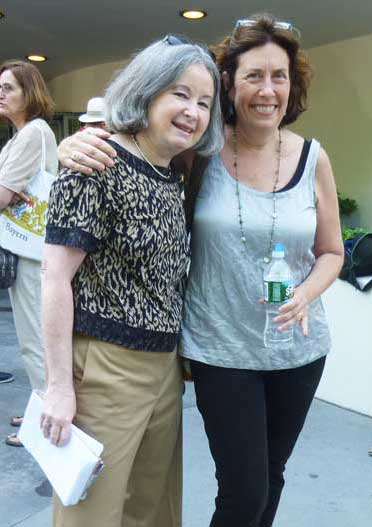 Deborah Solomon (R) and me, in front of the Guggenheim