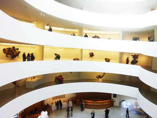Installation shot of Guggenheim Museum's 2012 John Chamberlain retrospective Photo by Lee Rosenbaum