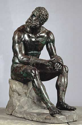 """Boxer at Rest,"" Greek, Hellenistic period, late 4th–2nd century B.C. Bronze with copper inlays, Museo Nazionale Romano---Palazzo Massimo alle Terme, Rome Lent by the Republic of Italy Image courtesy Soprintendenza Speciale per i Beni Archeologici di Roma – Museo Nazionale Romano---Palazzo Massimo alle Terme"