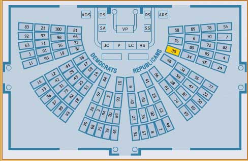 U.S. Senate Chamber Seating Map