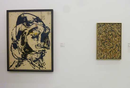 "Left: Pollock, ""Number 7, 1952, Metropolitan Museum of Art Right: Ossorio, ""Head,"" 1951, Ossorio Foundation Photo by Lee Rosenbaum"