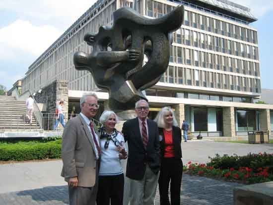 "Frank Robinson, left, then director of Cornell University's Johnson Museum at 2007 rededication of restored Lipchitz sculpture, ""Song of the Vowels,"" (between the undergraduate and graduate libraries) Photo by Lee Rosenbaum"