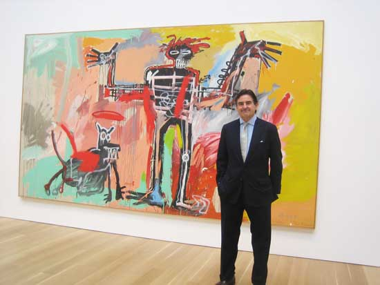 Peter Brant at his foundation's Art Study Center, with another one of his dogs (by Basquiat) Photo by Lee Rosenbaum