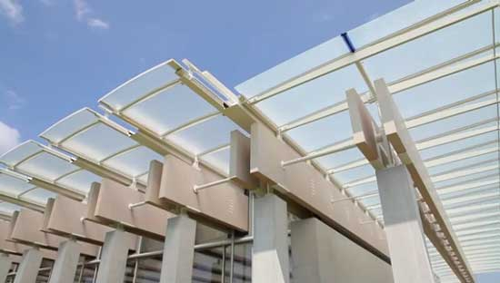 Roof for the Piano Pavilion of the Kimbell Art Museum Screenshot from the museum's video
