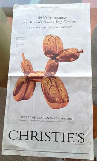 """The stage is set to make history"": Christie's full-page NY Times ad for Koons' ""Balloon Dog (Orange) Photo by Lee Rosenbaum"
