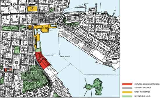 Waterfront site of proposed Guggenheim Helsinki (in red)