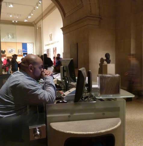 Name your price: A quiet moment at the Met's ticket counter Photo by Lee Rosenbaum