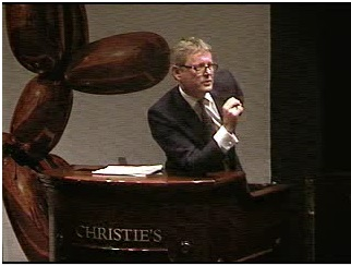 Christie's auctioneer Jussi Pylkkänen at tonight's Contemporary sale Screenshot from webcast
