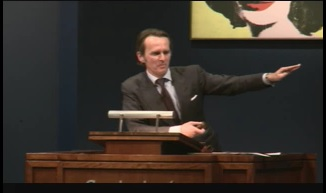 Sotheby's auctioneer Tobias Meyer at tonight's Contemporary sale Screenshot from webcast
