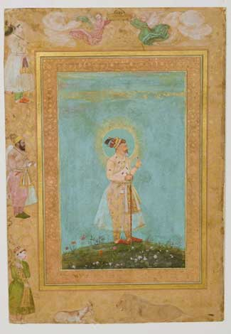 """Shah Jahan Holding a Spinel and a Long Deccan Sword,"" from the Late Shah Jahan Album, c. 1650. Attributed to Hashim (Indian, active Mughal court, mid-1600s), Benhaim Collection, Cleveland Museum of Art"