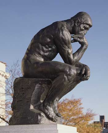 "Good thinking by Judge Rhodes: Rodin, ""The Thinker,"" 1904, Detroit Institute of Arts"