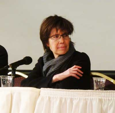 Woman in the Middle: Architect Elizabeth Diller at last night's discussion on Museum of Modern Art's expansion Photo by Lee Rosenbaum