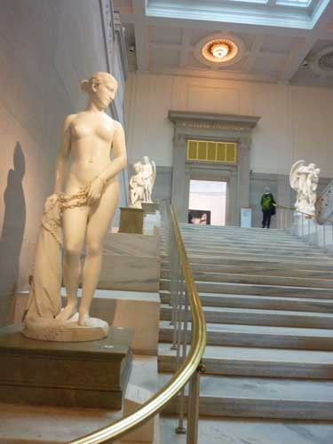 "An iconic American sculpture not represented in National Gallery's collection: Hiram Powers, ""The Greek Slave,"" modeled 1841-43, carved 1846 Corcoran Gallery of Art, gift of William Wilson Corcoran Photo by Lee Rosenbaum"