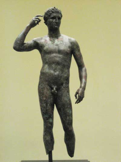 """Victorious Youth,"" Greek, 300-100 B.C., J. Paul Getty Museum Photo by Lee Rosenbaum"