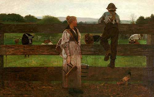"Poster of Winslow Homer's ""Milking Time,"" 1876, being sold by Delaware Art Museum's shop"