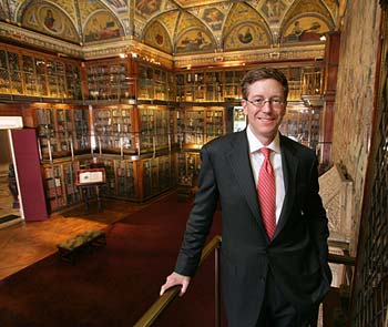 Director William Griswold in J.P. Morgan's library at the Morgan Library and Museum