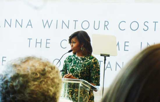 "Michelle Obama, who came to the Metropolitan Museum ""because of Anna"" Photo by Lee Rosenbaum"