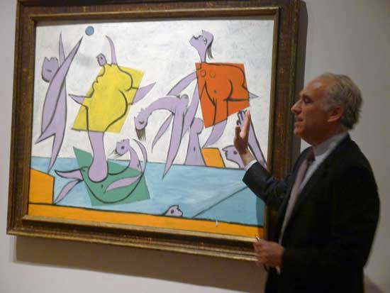 "David Norman, Sotheby's Impressionist/Modern co-chairman, with Picasso's ""Le Sauvetage,"" 1932, sold for $31.52 million Photo by Lee Rosenbaum"