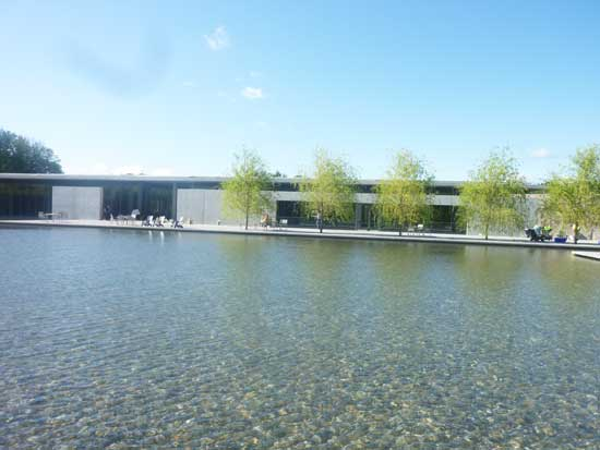 Across the pond: View of Tadao Ando-designed addition to the Clark, across its new water feature Photo by Lee Rosenbaum