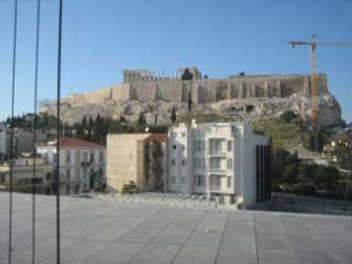 View of the Acropolis and Parthenon from within the Acropolis Museum Photo by Lee Rosenbaum