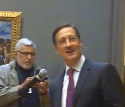 Walter Liedtke,smiling at a joke he had just made at El Greco press preview Photo by Lee Rosenbaum (screenshot from my video)